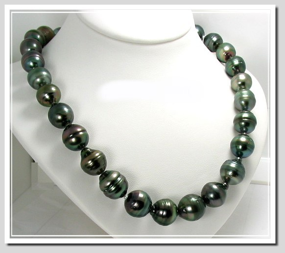 12X13MM -- 14.7X17.5MM Gray/Green Tahitian Pearl Necklace 14K Clasp 17.5in
