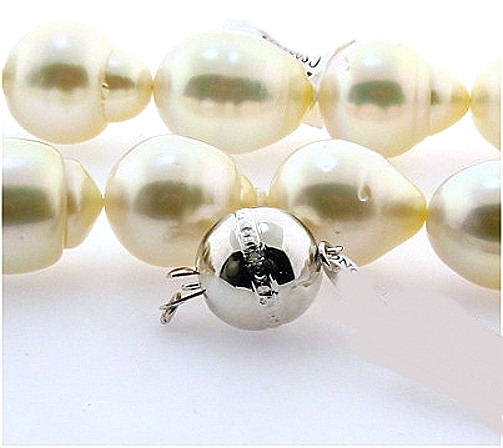 12X14MM - 15X17.7MM White Baroque South Sea Pearl Necklace, 14K Diamond Clasp, 17.5in