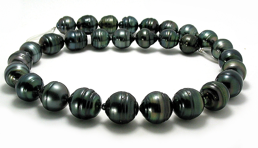 12MM - 14.8MM Black Tahitian Pearl Necklace 14K Clasp, 18in