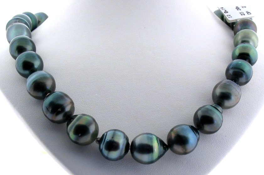 12X14.4MM - 14X16.8MM Peacock Tahitian Pearl Necklace, 14K Clasp, 17.5in