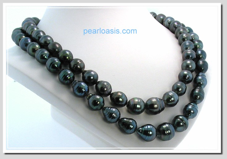 10-12MM Dark Gray Tahitian Pearl Necklace 14K Gold. 34in.