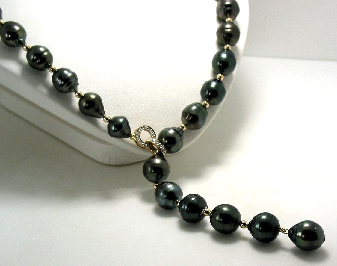 10X10.5MM to 11.2X13.3MM Tahitian Pearl & Gold Bead Lariat Necklace, 14K Diamond Clasp, 23in