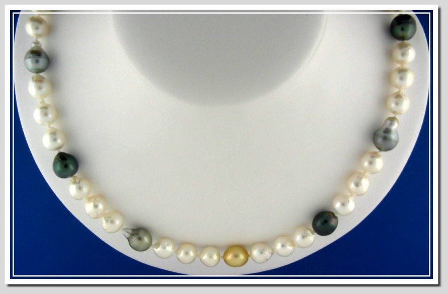 Multi Color Baroque Akoya Tahitian South Sea Pearl Necklace 14K Clasp 23in.