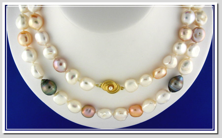 11X14MM Multi Color Baroque Tahitian & FW Pearl Necklace 14K Pearl Clasp 32in.