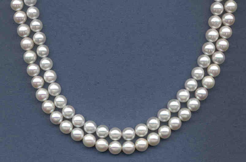 7-7.5MM Japanese Akoya Cultured Pearls, White Grade AA+