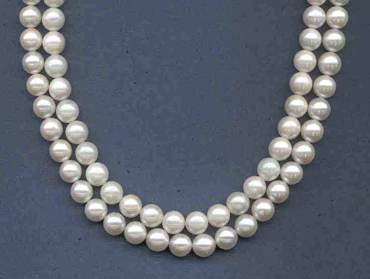 7.5-8MM Japanese Akoya Cultured Pearls, White, Grade AA