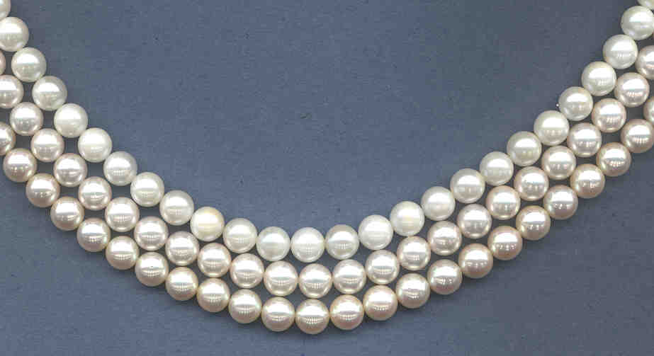 8-8.5MM Japanese Akoya Cultured Pearls, White, AA+ Grade