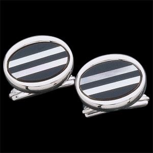 Genuine Onyx & Mother of Pearl Circle-Style Cuff Links, Sterling Silver Setting