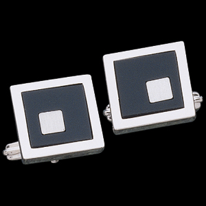 Genuine Square Onyx Cuff Links, Sterling Silver Setting
