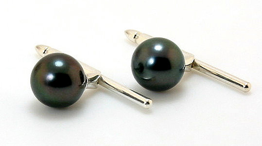 8.2MM Peacock Tahitian Cultured Pearl Cuff Studs, Sterling Silver