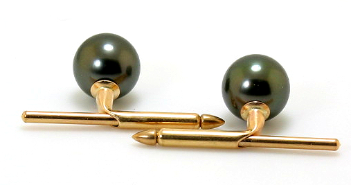 9MM Peacock Tahitian Pearl Cuff Studs, 14K Yellow Gold