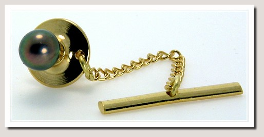 AAA 6-6.5MM Black Akoya Pearl Tie Tack 14K Gold