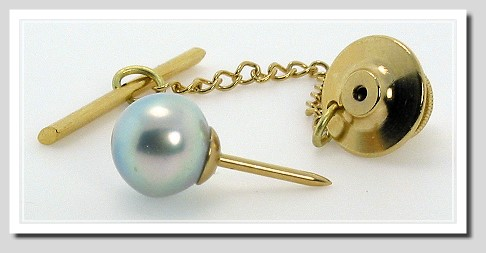 AAA 8.92MM Silver Gray Tahitian Pearl Tie Tack 14K Yellow Gold