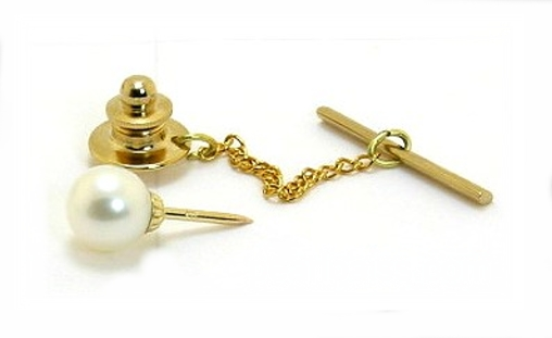 AAA 8-8.5MM Freshwater Pearl Tie Tack 14K Gold