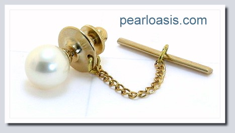 AAA 9-9.5MM White Round Freshwater Pearl Tie Tack 14K Yellow Gold