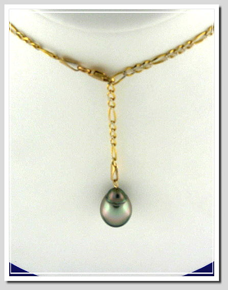 Pearl Lariat Necklace 10.5X14.5MM Gray Tahitian Pearl 10K Gold 24in.