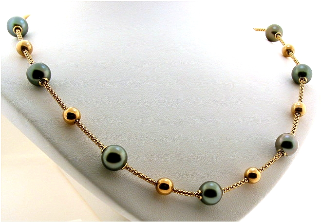 Mov-A-Pearl Tin Cup Necklace 8.5-8.9MM Tahitian Pearls, 14K Yellow Gold, 17 In.