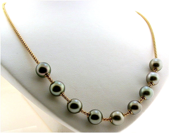 Mov-A-Pearl Tin Cup Necklace: 8.9-9MM Tahitian Dark Gray Pearls 14K Yellow Gold 17in.