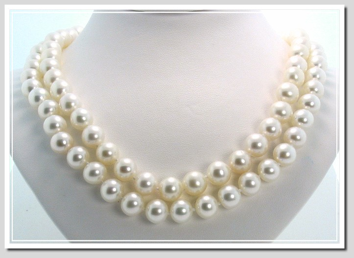 AA+ 9-9.5MM White Freshwater Pearl Necklace, 14K Yellow Gold 34in.