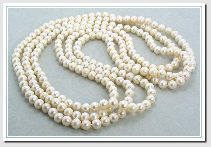 6-7MM White Freshwater Pearl Endless Necklace w/Shortner 64in