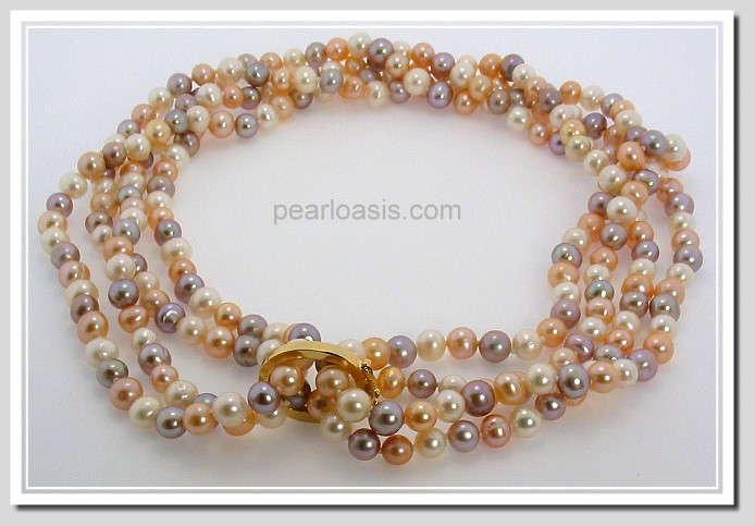 6-7MM Multi Color Freshwater Pearl Endless Necklace w/Shortner 64in
