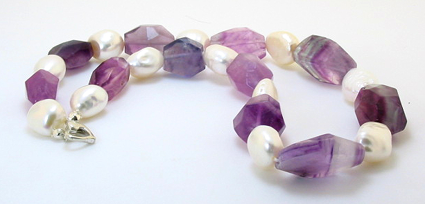 11X12MM White FW Pearl & 12X18MM Natural Amethyst Bead Necklace Silver Clasp 17in