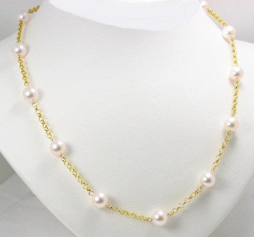 Tin Cup Necklace w/7-7.5MM Akoya Cultured Pearls, 14K Yellow Gold, 20 In.