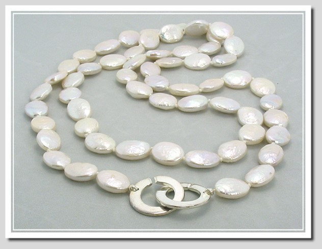 9X11MM Oval Shape White Freshwater Cultured Pearl Necklace w/Large Italian Designer Silver Clasp, 32 In.