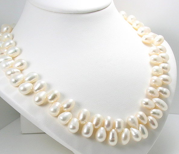 7.5X10MM White Tip Drilled Freshwater Pearl Necklace Gold File Clasp 17""