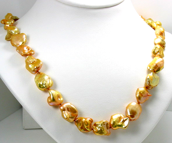 12-13MM Golden Freshwater Pearl Necklace 18in Silver Clasp