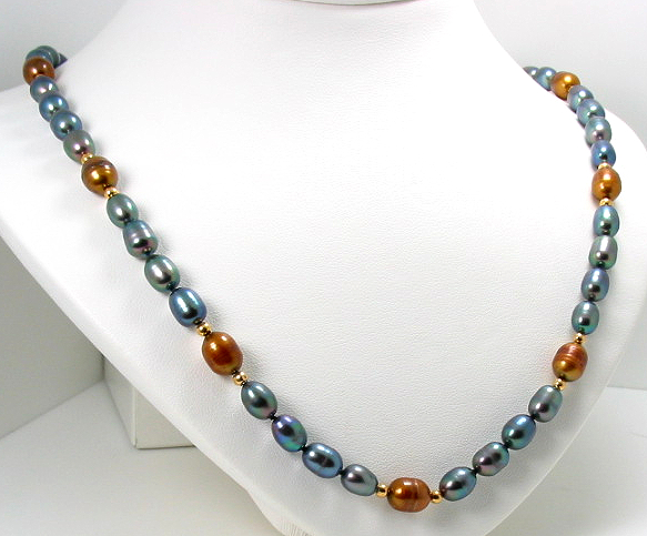 6X8MM Black & Brown Freshwater Pearl Necklace 14K Beads & Clasp 19in