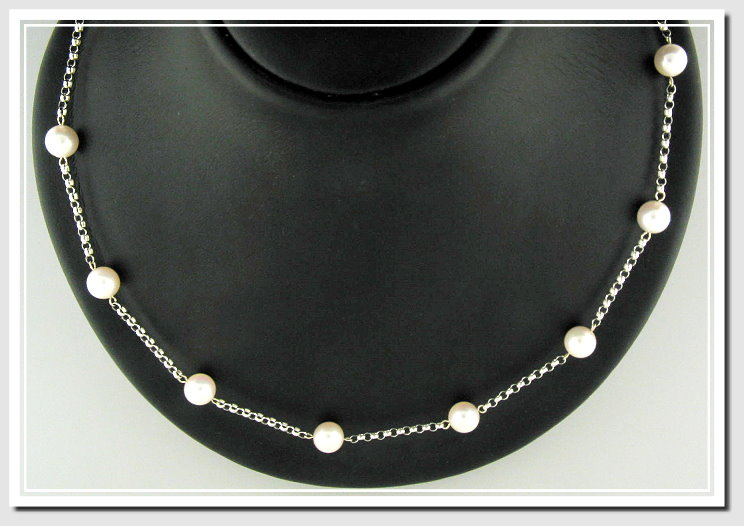 18 In. Tin Cup Necklace 7-7.5MM White Akoya Cultured Pearls, 14K White Gold,