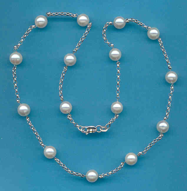 Tin Cup Necklace w/7-7.5MM Akoya Cultured Pearls, 14K White Gold, 20 In.