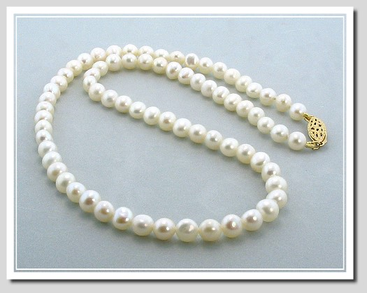 AA+ 5.5-6MM White Freshwater Pearl Necklace Gold Filled Clasp 16.5in.