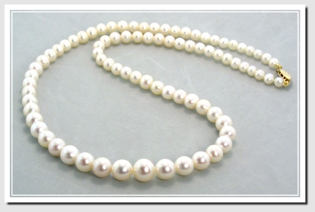 AA+ Grade 5-9MM White Freshwater Pearl Graduated Necklace 14K Gold 18in