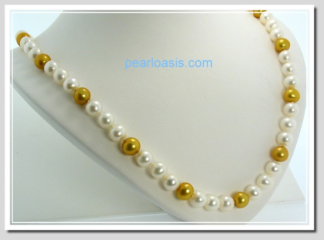 AA+ 7.5-8MM White & Gold FW Round Pearl Necklace 14K Clasp 18in.