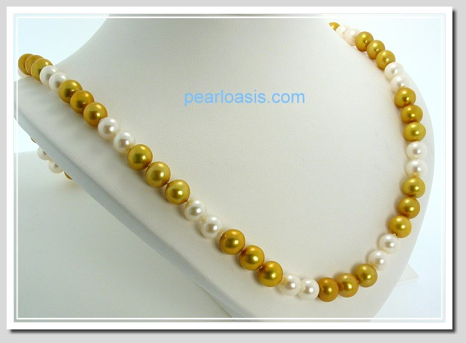 AA+ 7.5-8MM 2-3 Style White & Gold FW Round Pearl Necklace 14K Clasp 20in.
