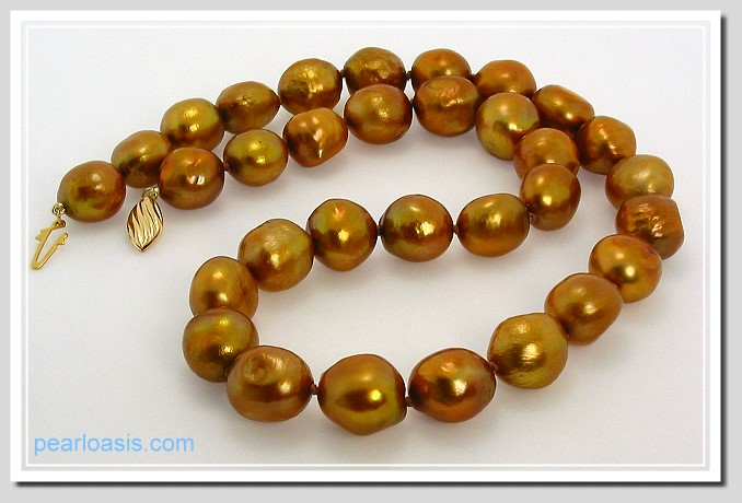 AA 10X12MM Brown FW Baroque Pearl Necklace Gold Filled Clasp 17in