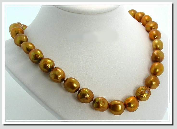 AA 10X12MM Brown FW Baroque Pearl Necklace Gold Filled Clasp 20in