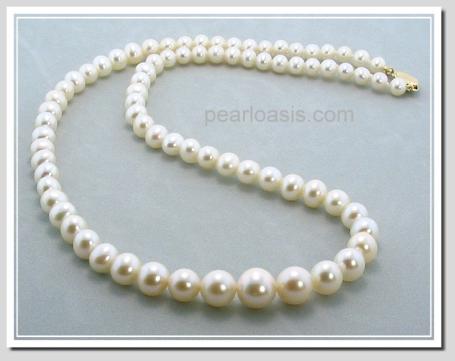 AA+ 5-9MM White Freshwater Pearl Graduated Necklace 14K Gold 24in