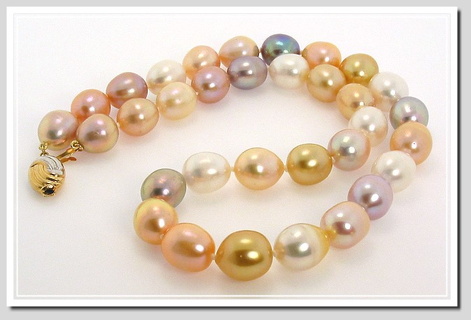AA+ 10X11MM - 11X13MM Multi Color FW & South Sea Pearl Necklace 14K Clasp 18in