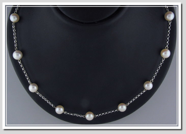 Tin Cup Necklace 8-8.5MM White Japanese Akoya Pearls 14K Gold 16in.