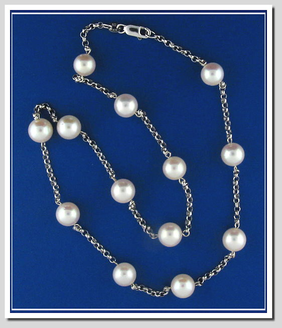 Tin Cup Necklace 8-8.5MM White Japanese Akoya Pearls 14K Gold 18in.