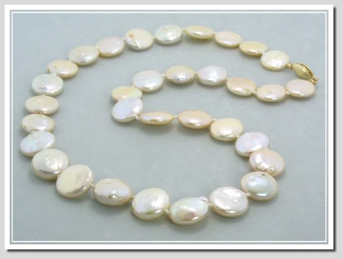 13.5-14MM Freshwater Coin Pearl Necklace 14K Clasp 18in.