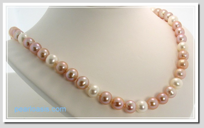 AAA 8.5-9.5MM Pink White FW Round Pearl Necklace 14K Clasp 18in.