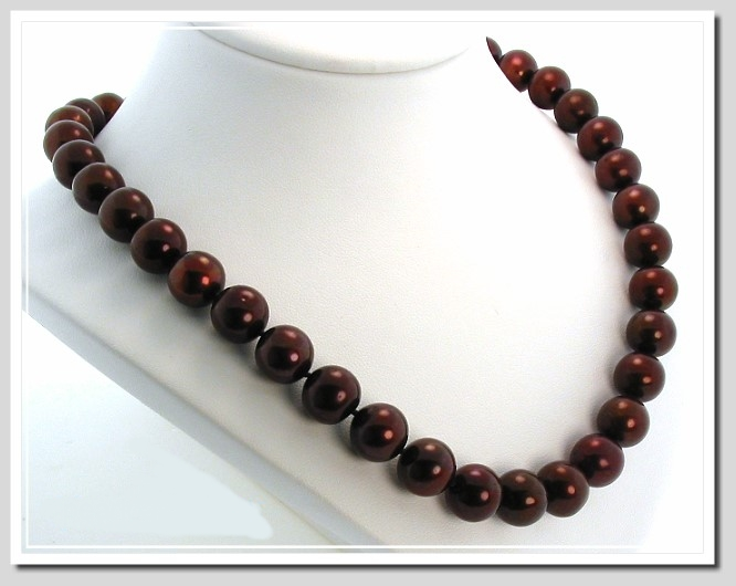 AAA 10.5-11.5MM Chocolate Brown Round FW Pearl Necklace 14K Clasp 18in