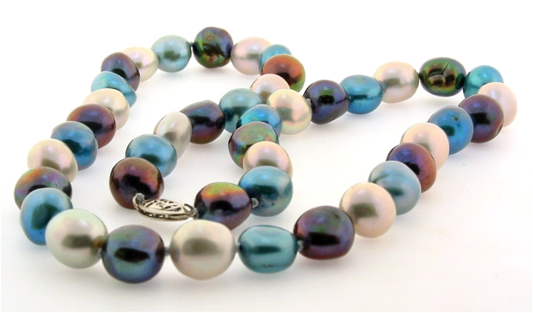 9X10MM Black Blue Gray Freshwater Pearl Necklace, 14K White Clasp, 18in