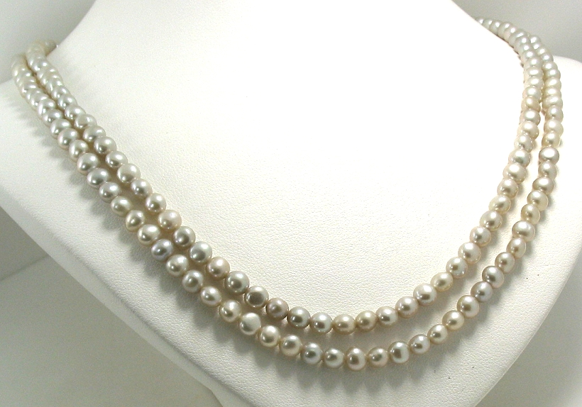 4.5-5MM Silver Gray Freshwater Pearl Double Strand Necklace 14K White Gold Clasp, 17+18in