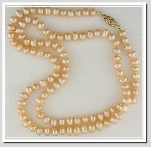 7-7.5MM Peach Pink Cultured Pearl Necklace 24in Special Sale