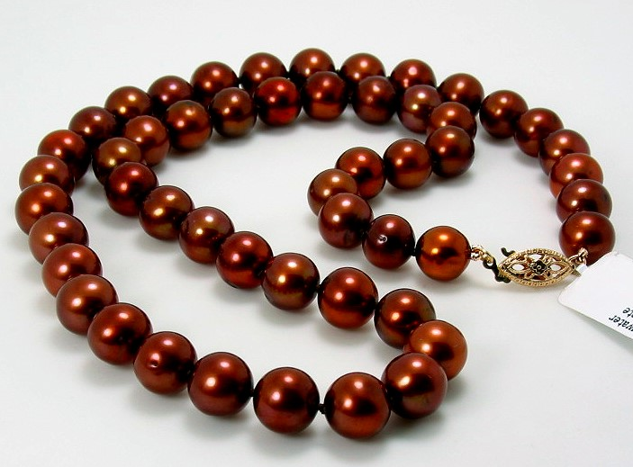 8-8.5MM Chocolate Brown Freshwater Pearl Necklace, 14K Yellow Gold 18in.